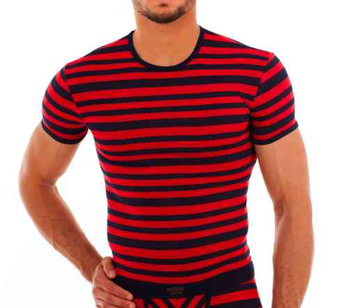 Matrosen round neck-Shirt marine-red slim