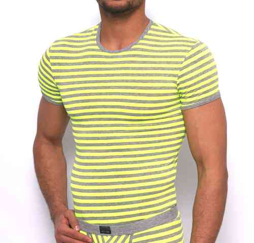 Stripes RN Shirt gray-neonyellow