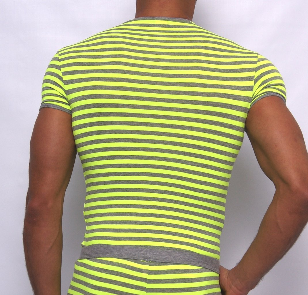Stripes RH Shirt grau-neongelb