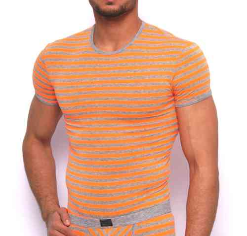 Stripes RN Shirt gray-neonorange