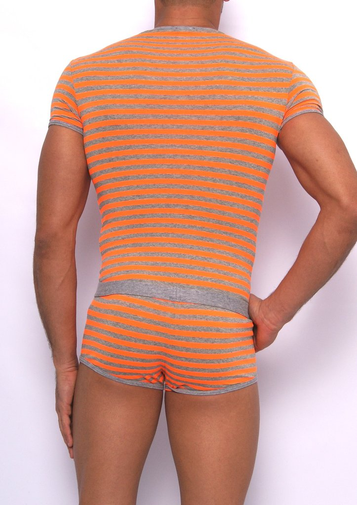 Stripes RN Shirt gray-neonorange