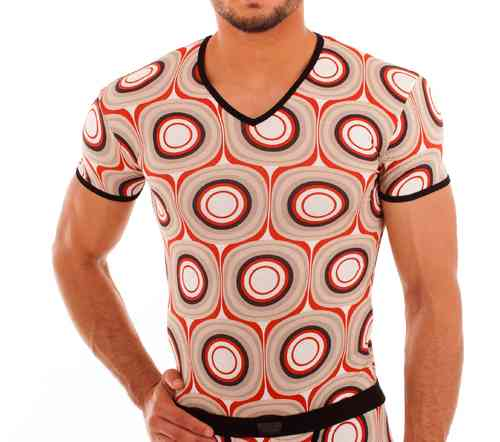 Loops V-Shirt redbrown-black