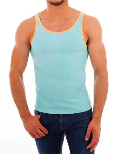 CottonRipp Athletic Shirt türkis-orangegelb