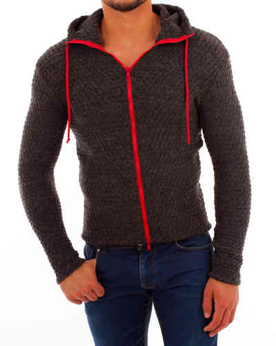 Hoodie knitting gray zip red