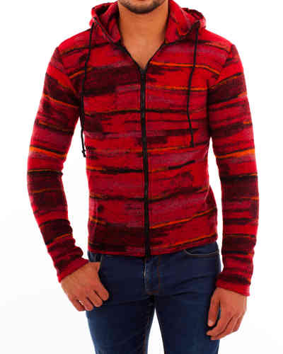 Hoodie checkered red-black zip black