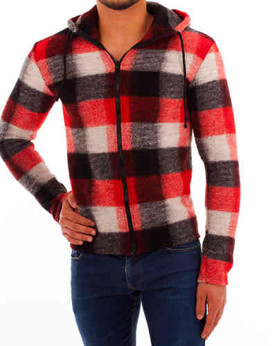 Hoodie knitting redcheckered  zip black