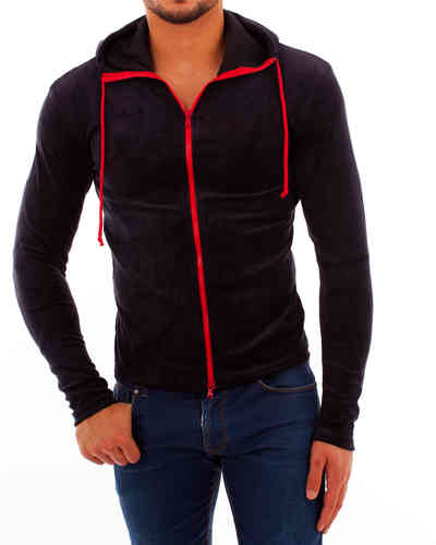 Hoodie nicki black Zip red
