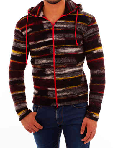 Hoodie checked black-yellow zip red