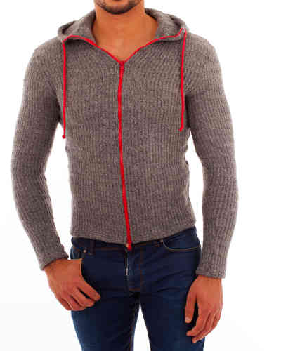 Hoodie knit gray zip red