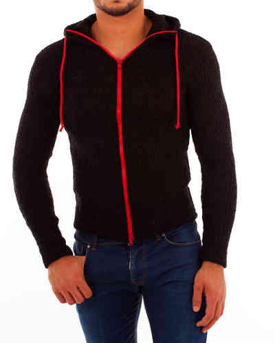 Hoodie knit black zip red