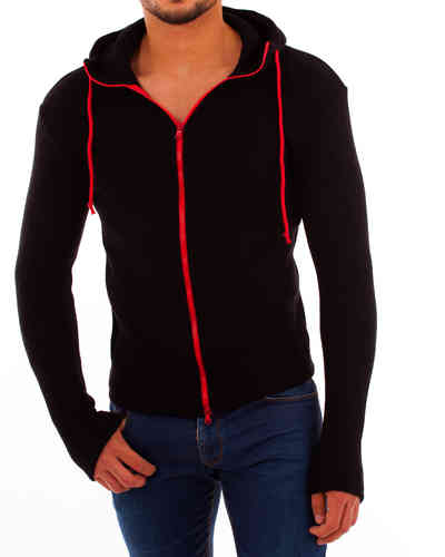 Hoodie double-face black zip red