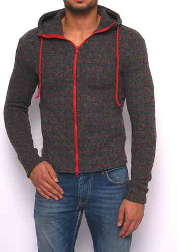 Hoodie colored wool rib meshes gray zip red