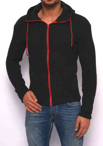 Hoodie winter knitting black zip red