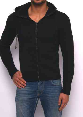 Hoodie winter knitting black zip black