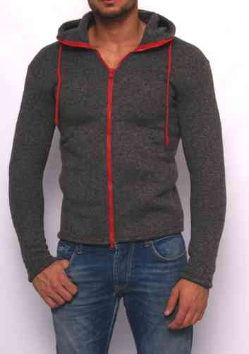 Hoodie winter knitting gray zip red