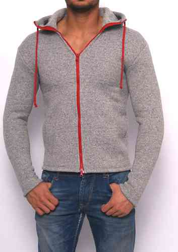 Hoodie winter knitting light gray zip red