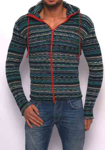 Hoodie knitting turquoise-blue-gray  zip red