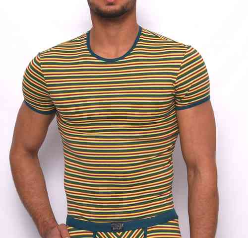 Stripes round-neck Shirt red-yellow-petrol