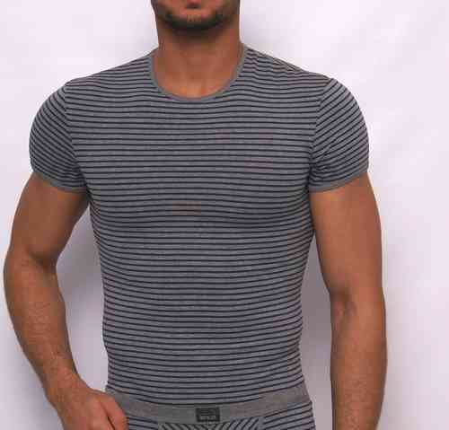 Stripes Rundhals Shirt grau-blau