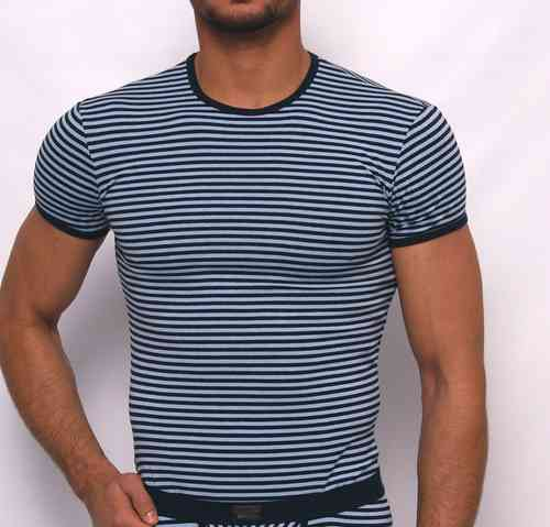 Stripes round neck Shirt marine-light-blue