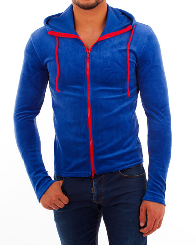 Hoodie Nicki blue zip red