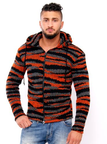 Hoodie stripes black-grey-orange