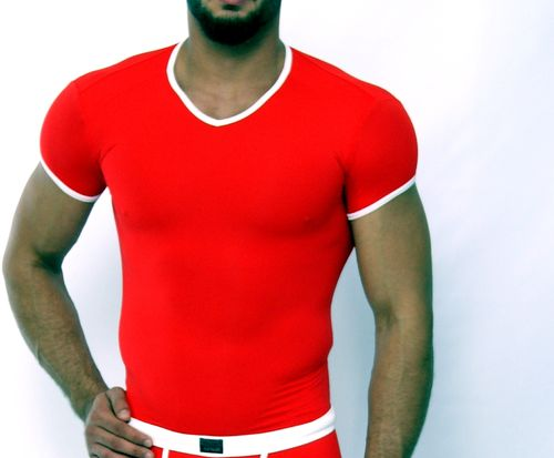 Micro-Basic V-Shirt red-white