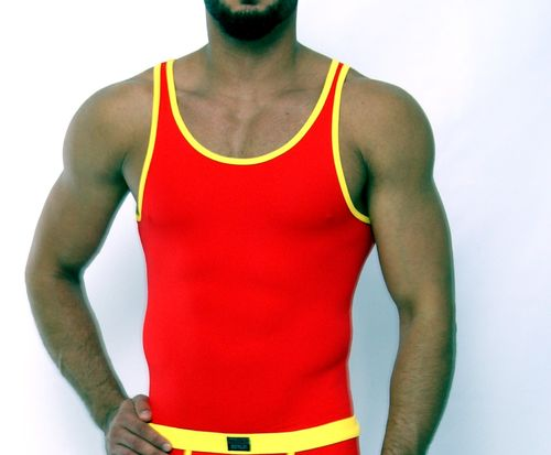 Micro-Basic Athletik Shirt red-yellow