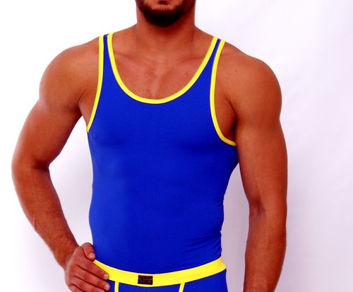 Micro-Basic Athletik Shirt blau-gelb