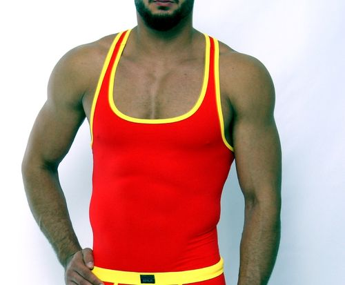 Micro-Basic Muscle Shirt red-yellow