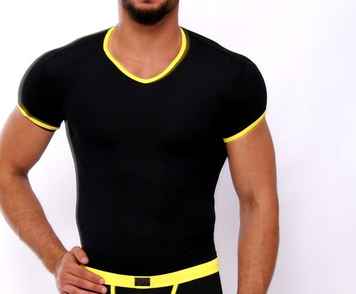 Micro-Basic V-Shirt black-yellow