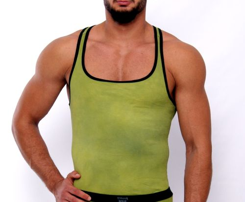 CottonRipp Batik Muscle Shirt olive-yellow-black