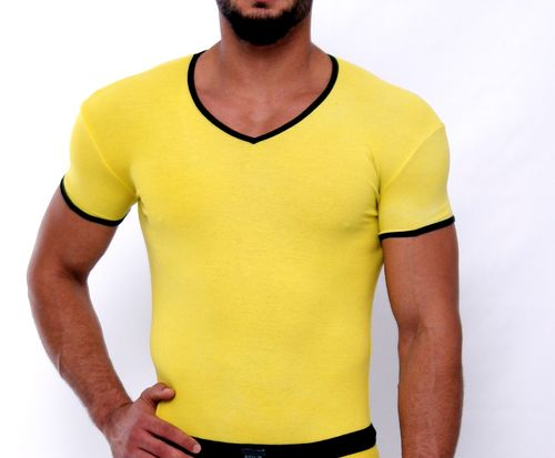 CottonRipp V-Shirt lemon-schwarz