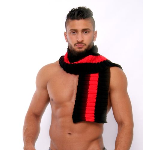 Scarfs black-neonred hand-knitted