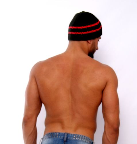 Beanies 2 stripes black-neonred hand-knitted