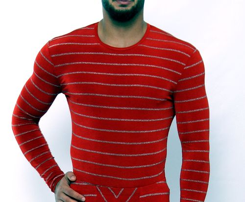 SilverStripes long sleeves shirt red-silver