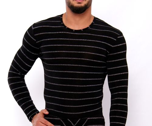 SilverStripes long sleeves shirt black-silver