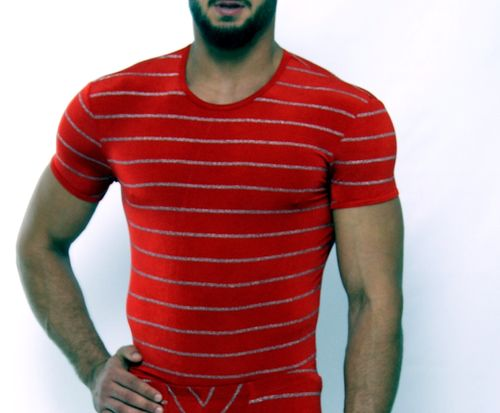 SilverStripes  shirt red-silver