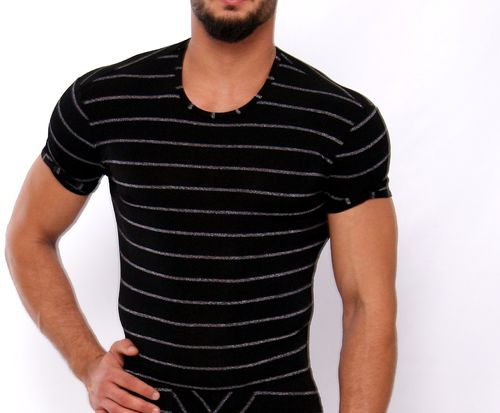 SilverStripes  shirt black-silver