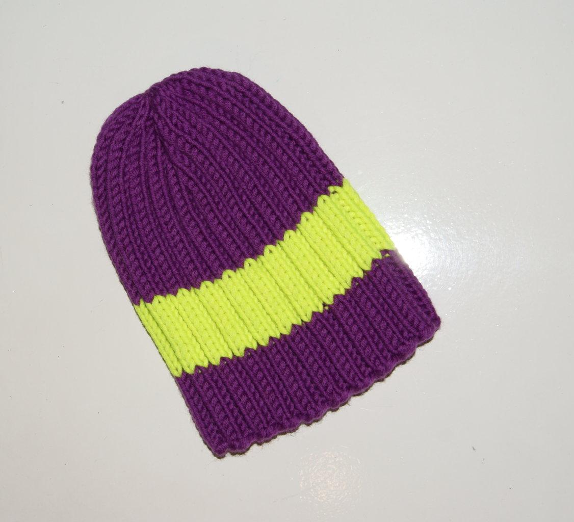 Mütze lila-neongelb Handgestrickt